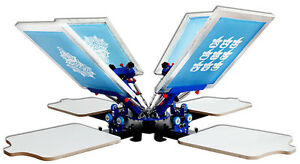 555883922 Details about 4 Color 4 Station Micro Registration Silk Screen Printing  Machine T-shirt Print