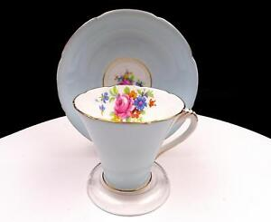 A-B-J-GRAFTON-CHINA-ENGLAND-BLUE-WITH-FLORAL-BOUQUET-2-7-8-034-CUP-AND-SAUCER-SET
