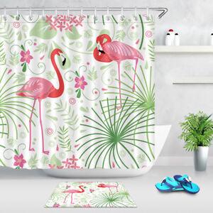 Tropical Plants Flamingo Shower Curtain Waterproof Fabric Bathroom Accessories