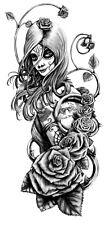 High Quality 13.5cm x 6cm Fake Tattoo Vintage Rose Girl Waterproof Temporary Art
