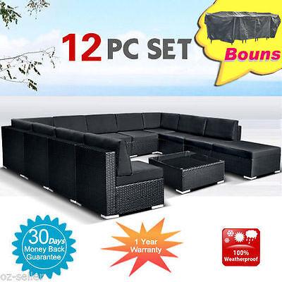 Wicker Rattan Garden Set Indoor Outdoor Sofa Lounge couch Setting Furniture 12Pc