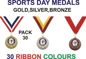 PACK-OF-30-0-84p-each-Sports-Day-Medals-amp-Ribbons-Metal-50mm-Ref-GMM7050-MR1