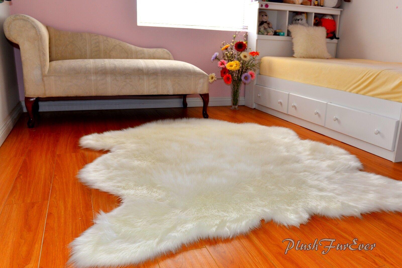 Sheepskin Flokati Nursery Weiß Faux Fur Fur Fur Area Rug Baby Rugs Home Accents Throws 56ebde