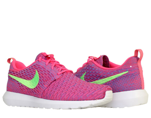 new concept adc4a 29885 Nike Flyknit Rosherun Pink Flash  Lime-Club Pink Men s Running Shoes  677243-601