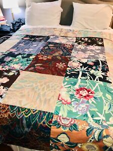 VTG-70-039-s-80-039-s-LOVELY-GREEN-PINK-BLUE-FLORAL-MIXED-REVERSIBLE-QUILT-BLANKET-TWIN