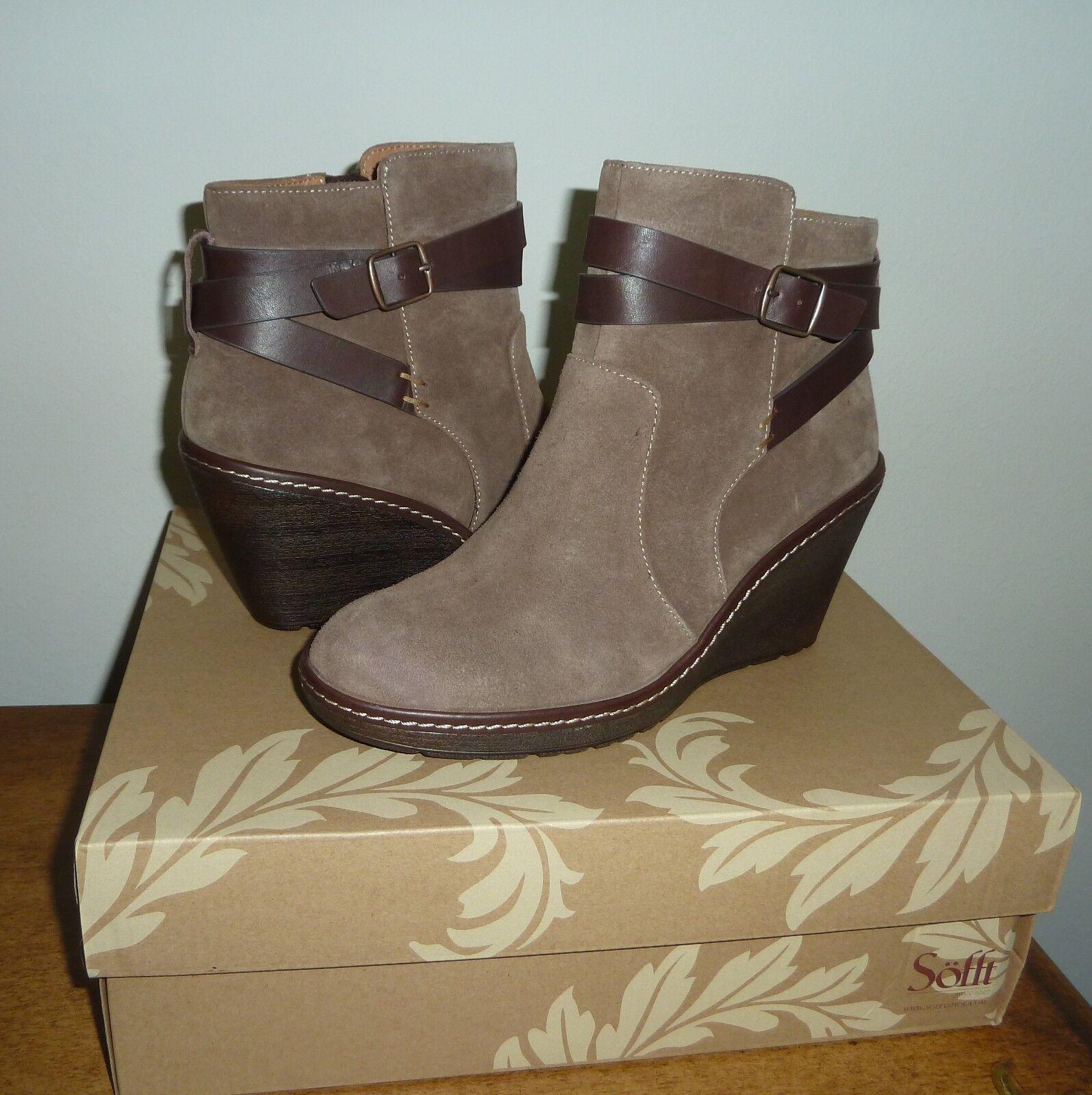 NEW Sofft Caralee Ankle Wedge Boots Havana Havana Havana Brown Suede 9 5d4c97