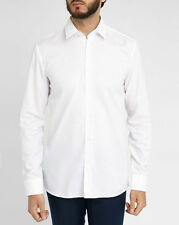 HUGO BOSS - HUGO Mens Elisha Poplin Shirt White Slim Fit Cotton Shirt Sz L Large