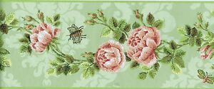 Stylized-Roses-and-Stems-with-Butterfly-and-Bee-Wallpaper-Border-EC1283B