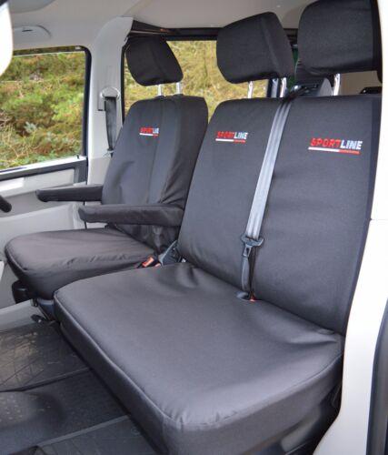 VW Transporter T6 Sportline Waterproof Heavy Duty Tailored Seat Covers Black