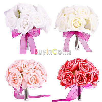 6 x Artificial Fake Rose Flower Bouquet Bridal Wedding Party DIY Decoration