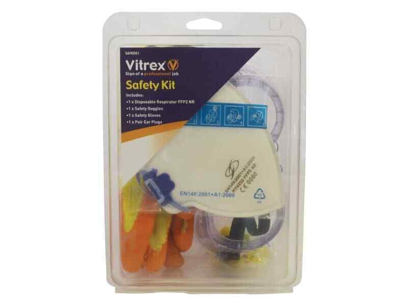 Kit De Seguridad Vitrex SAFK 001-gafas, guantes, máscara y tapones para los oídos