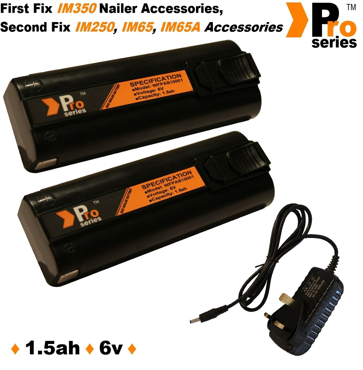 2x replacement batteries 1.5ah & mains charger im350/350+/65/65A/250. Gas Nailer