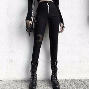 Women-Crescent-Moon-Mesh-Gothic-High-Waist-Black-Leggings-Pants-Trousers-Zipper