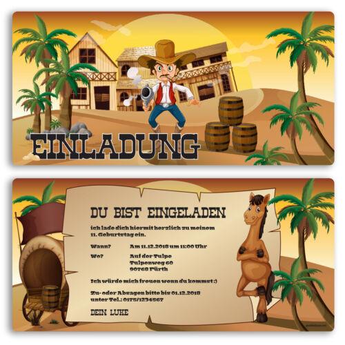 Einladung zum Geburtstag Cowboy Western Einladungskarten Kindergeburtstag