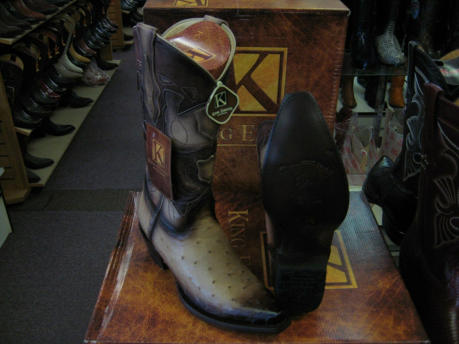 KING EXOTIC TAN ORYX SNIP TOE GENUINE OSTRICH WESTERN COWBOY BOOT 94DRD0315