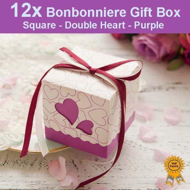 12x Heart Wedding Bonbonniere Bomboniere Candy Gift Box - Purple