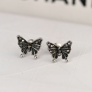 New-925-Sterling-Silver-Lady-039-s-Cute-Butterfly-Stud-Earrings-Antique-Style-Gift