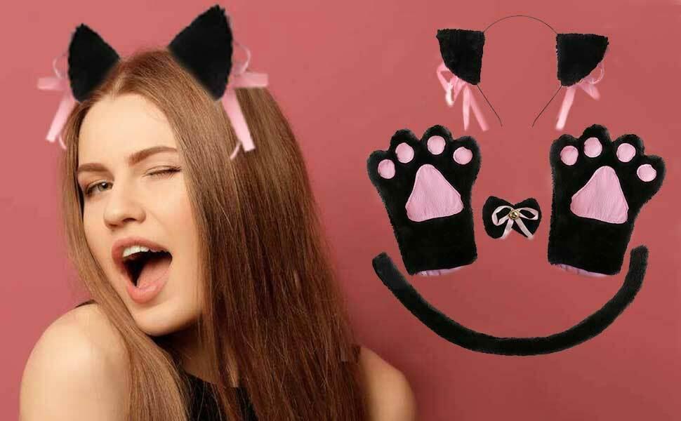 Womens Instant Black Cat Set Kit Fancy Dress Costume Ears Bow Tie Tail