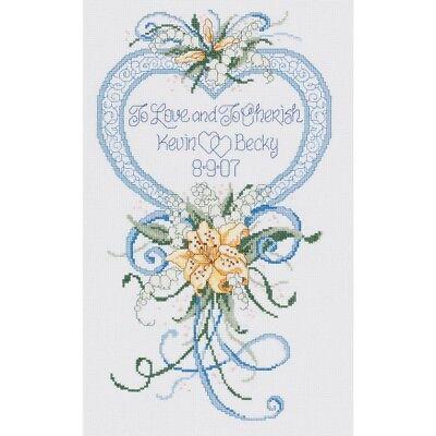 Wedding Janlynn Heart Cherished 1piece Kit9x15 14 Counted Cross Stitch Cherish
