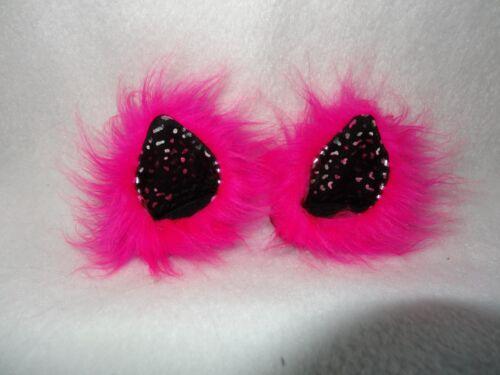 Gatti orecchie glitter rosa nero PUSCHEL CASCO Orecchie Nuovo Ragazze Donne Casco