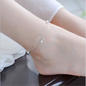 Women-925-Silver-Rhinestone-Adjustable-Star-Bead-Ankle-Chain-Bracelet-Jewelry