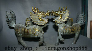 13-6-034-Ancien-Chine-Bronze-Dore-Feng-Shui-Animal-Kylin-Bete-Chanceux-Statue-Paire