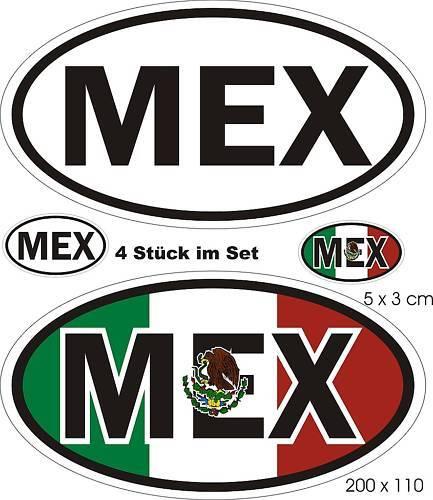 4 x Nationalitätenkennzeichen Mexiko Aufkleber Auto SUV Caravan Truck Bus Boot