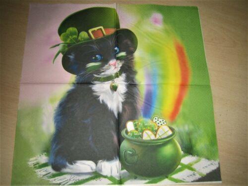 1 Lunch Papier Serviette Napkin Regenbogen Katze Cat St.Patricks Day BP377
