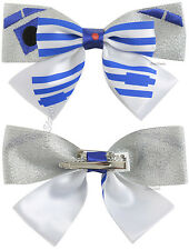 NEW Star Wars R2D2 Robot Glitter Ribbon Bow Tie Hair Clip Cosplay Costume Pin