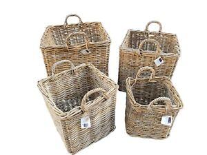 Grey-Kubu-Rattan-Strong-Square-Storage-Kindling-Log-Basket-4-Sizes-Laundry-Toys
