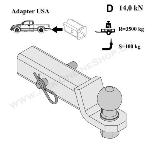 """introducción cosido us vehículos adaptador Jeep gran cherokee enganche remolque 2/"""" 51x51mm remol"""