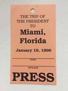 1990-President-George-Bush-Trip-to-Miami-Florida-Press-Pass-Ticket-Credential