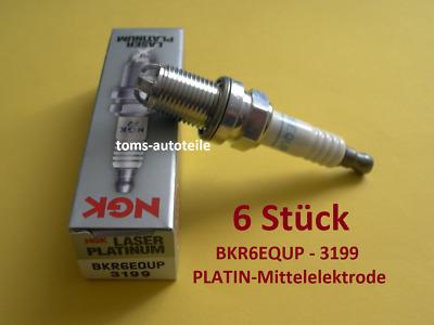 6 Stück Zündkerzen NGK 3199 Platin Platinum BKR6EQUP Audi BMW