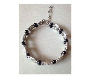 007 Beautiful Tibet Silver Black Bead Bracelet