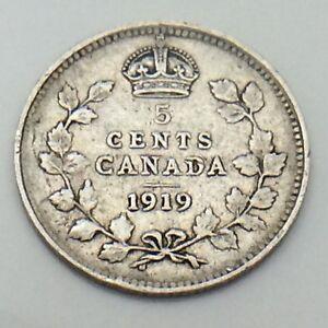 1919 Canada Small 5 Five Cents Silver Circulated Canadian Coin E781 Ebay