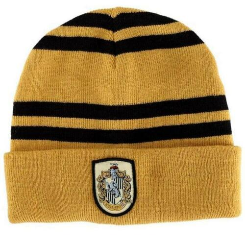 Harry Potter Hufflepuff Logo Stripes Beanie Hat Cap Deathly Hallows Costume Gift