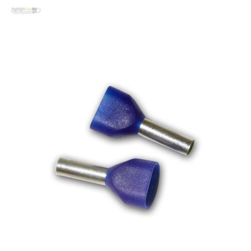 500 TWIN-Aderendhülsen blau Schaft isoliert 2x 2,50mm² blaue Duo Aderendhülse