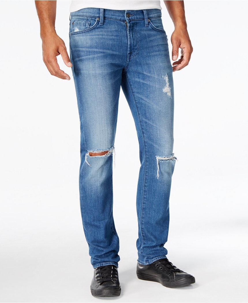 Nwt 7 für Alle Sz30 Slimmy Schmal Gerades Bein Jeans Distressed California