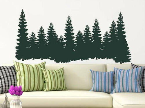 Pine Trees Wall Decal Forest Landscape Nature Vinyl Sticker Home Decor NV129