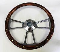 1970-1977 Ford F-series Truck Steering Wheel Pine Wood Grip Billet 14 Ford Cap