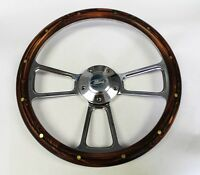 1970-1977 Ford F-series Truck Steering Wheel Dark Pine Wood Billet 14 Ford Cap