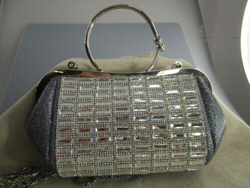 Pailletten von Hand gefertig Metallbügel 03 Abendtasche Tasche mit Strassdeco
