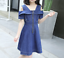 Girls-Dress-Casual-Cotton-Blue-Denim-Kids-Off-shoulder-Dresses-Age-3-12-Years thumbnail 2