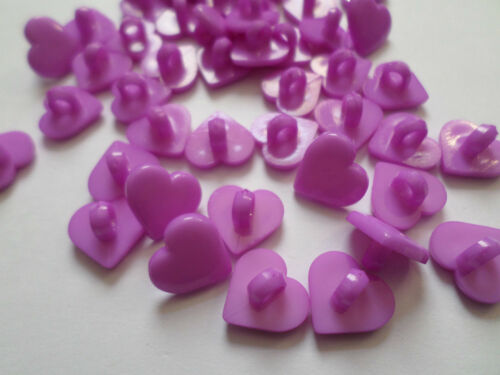 Heart 12mm Purple 30 x Shanked Acrylic Buttons