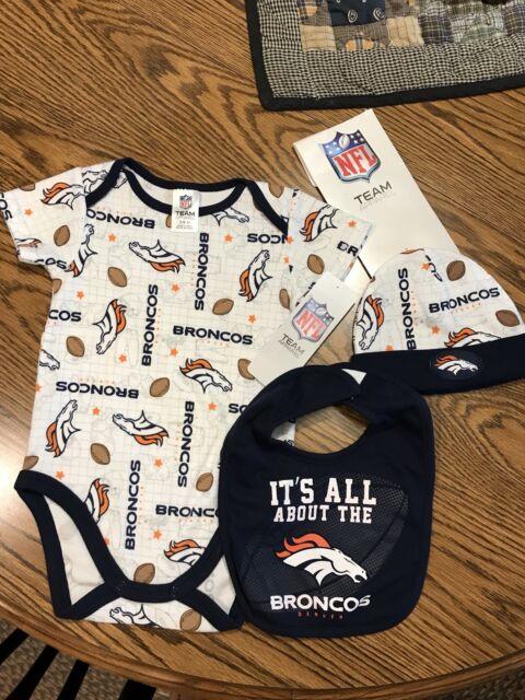 06e4abfb Denver Broncos Infant Bodysuit Bib Hat Outfit 3-6 Months
