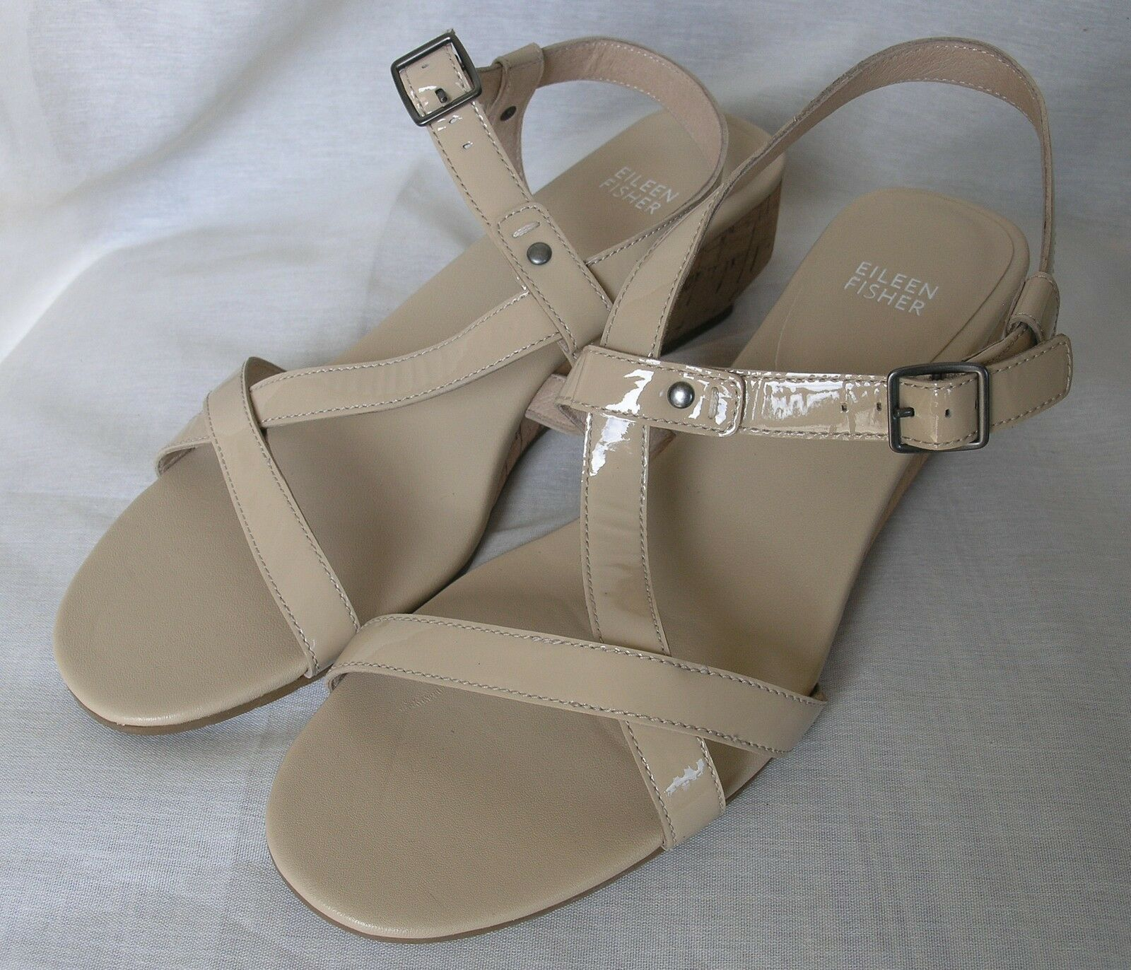 NEW EILEEN FISHER PATENT LEATHER SANDAL donna scarpe Dimensione 9.5