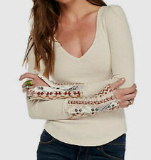 Free People Art School Button Cuff Thermal Long Sleeve Plunge V-Neck OB536631