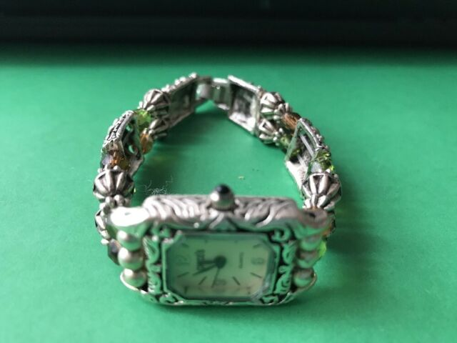 Women's Ladies Silver toned Beaded Floral CHICO'S Quartz Wrist Watch Analog