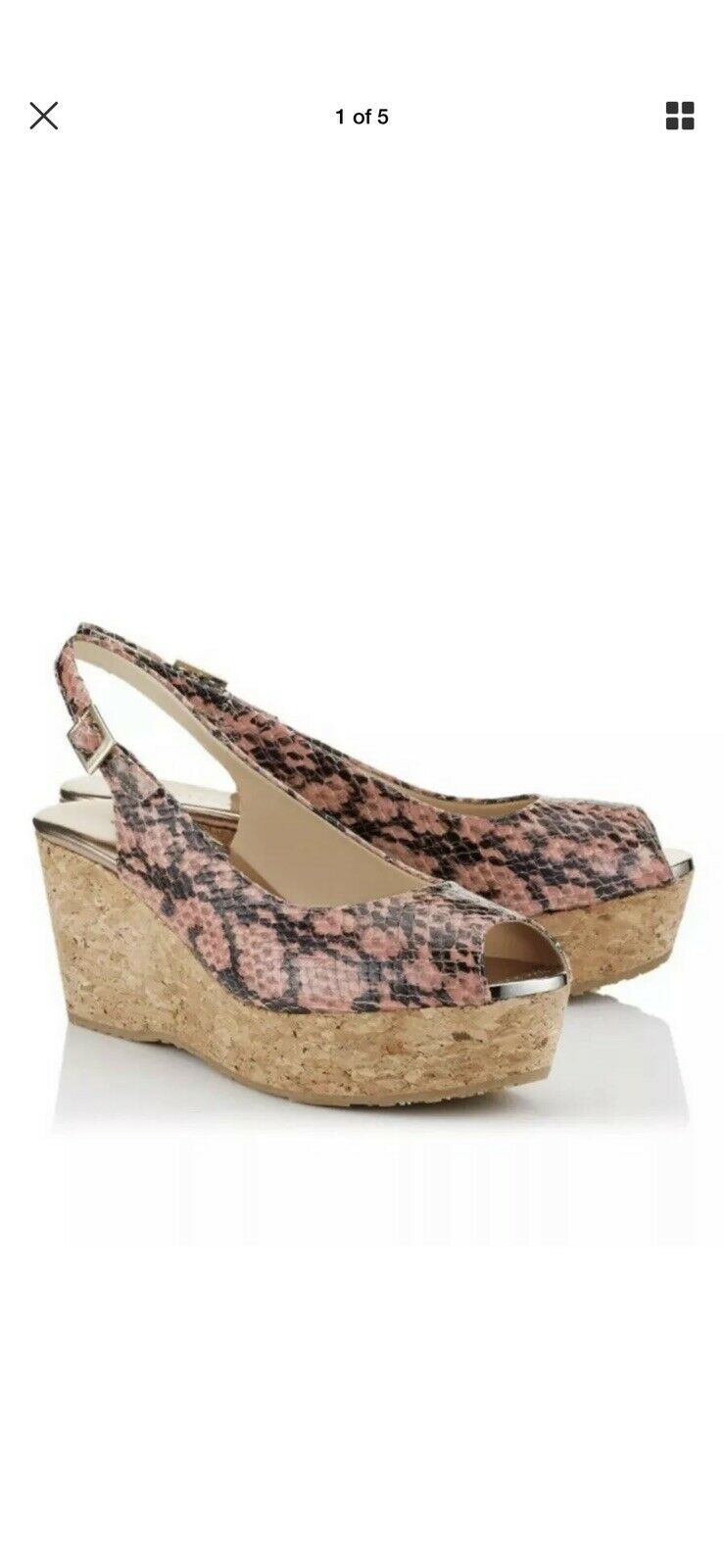 Jimmy Choo Praise Leather Snake Skin Cork Wedge Sandals Size 35.5 Europe US 5.5