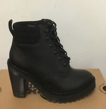 DR. MARTENS PERSEPHONE FLECCE BLACK STONE  LEATHER  BOOTS SIZE UK 8